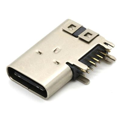 Upright side usb 3.1 type-c connector